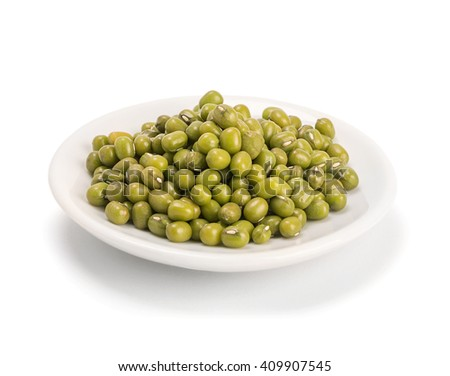 mung beans isolated on white - stock photo