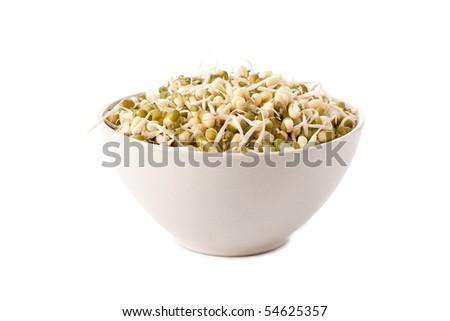 mung beans on white background - stock photo