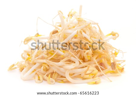 Mung beans or bean sprouts used in  Asian cuisine on white background