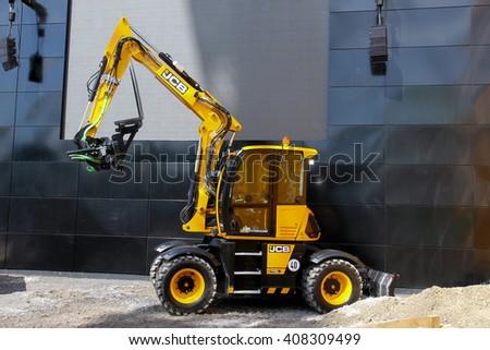 Munich, April 13, 2016: Excavator JCB 110w at bauma Munich 2016 - stock photo