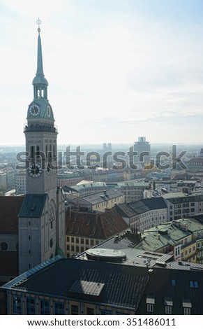 MUNICH, BAVARIA/ GERMANY October 28 2015: Tower of Heiliggeistkirche church in Munich. Aerial view. Overview over the whole city.