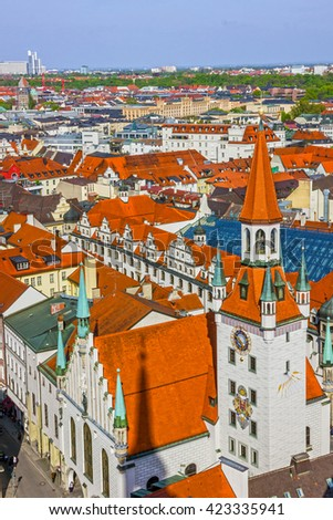 Munich, Bavaria, Germany. Old Town architecture - stock photo