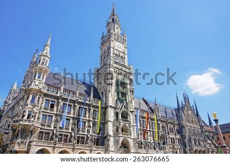 Munich city hall at Marienplatz in summer  - stock photo