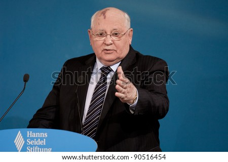 MUNICH - DECEMBER 10: Awarding of the Franz Josef Strauss prize in Munich, Germany. Prize Winner Mikhail Gorbachev made a speech on December 10, 2011.