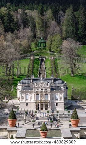 MUNICH (ETTAL, FUSSEN) GERMANY - 06 MAY 2016: Aerial panorama from the upper terrace on hill in the park near the Linderhof (the nineteenth century palace), Germany - natural background