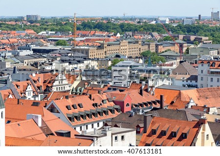 Munich, Germany. Aerial view from the New Town Hall. Munuch is the capital and largest city of the German state of Bavaria. - stock photo