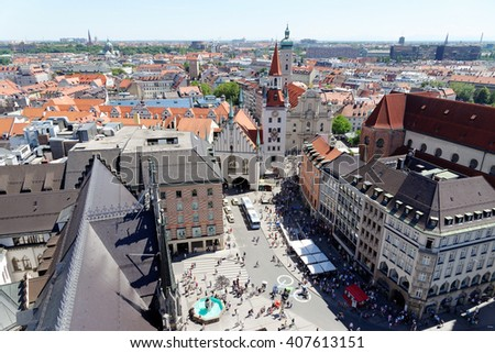 Munich, Germany. Aerial view from the New Town Hall of the central square Marienplatz and the Old Town Hall. - stock photo