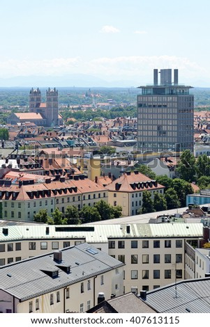 Munich, Germany. Aerial view from the New Town Hall. St. Maximilian church in the distance - parish church on the banks of Isar river. - stock photo