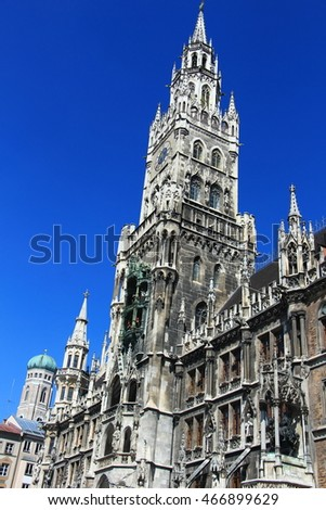 MUNICH, GERMANY-April 11,2016 : Medieval Town Hall building with spires Munich Germany. The first floor looks towards the Marienplatz- used for festivals and public events.
