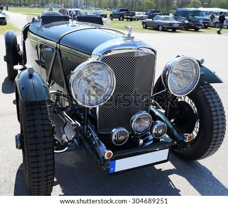 MUNICH, GERMANY - APRIL 19:  oldtimer Bentley at oldtimer show on April 19, 2015  in Munich, Germany. This is annual oldtimer show where are presented several hundreds oldcars. - stock photo