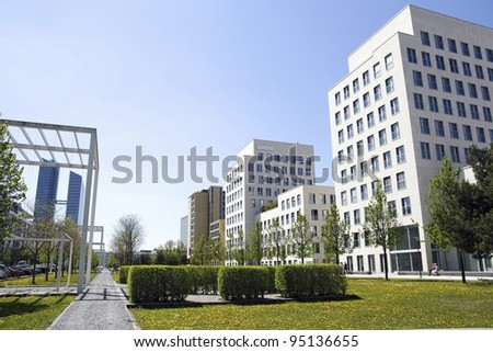 MUNICH, GERMANY - APRIL 29: recently built new business quarter and Highlight Tower on April 29, 2010 in Munich, Germany - a new location of many IT and hitec companies, hotels and services. - stock photo
