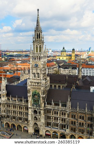 MUNICH, GERMANY - APRIL 9: Town hall at the Marienplatz in Munich, Germany on April 9, 2014. Munich is the biggest city of Bavaria. - stock photo