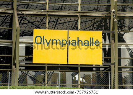 MUNICH, GERMANY - AUG 26, 2017: Olympiapark Munchen (Olympiahalle) pavilion entrance. THe Park was constructed for the 1972 Summer Olympics which took place in Germany
