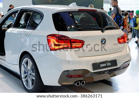 MUNICH, GERMANY - 4 AUGUST 2015: BMW 125i at the BMW Welt, a customer experience and exhibition facility of the BMW AG, Munich, Germany - stock photo