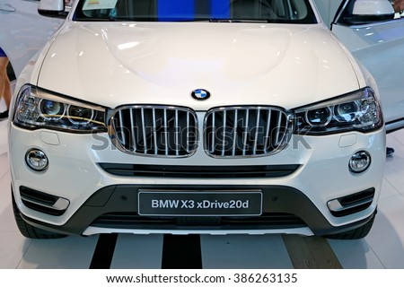 MUNICH, GERMANY - 4 AUGUST 2015: BMW x3 at the BMW Welt, a customer experience and exhibition facility of the BMW AG, Munich, Germany - stock photo
