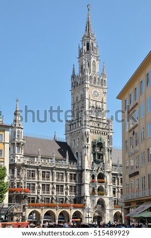 MUNICH, GERMANY - AUGUST 18, 2011: Buildings and tower of the town hall, in the historic center