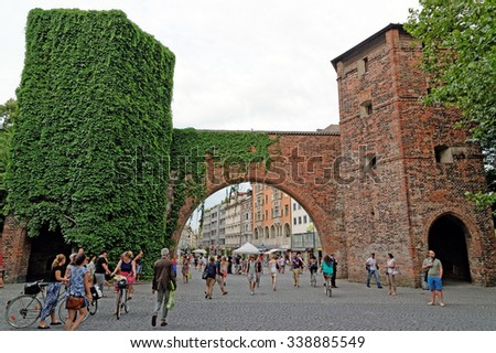 MUNICH, GERMANY - 4 AUGUST 2015: Front view of Sendlinger Tor and the begining of Sendlinger Strasse.  - stock photo