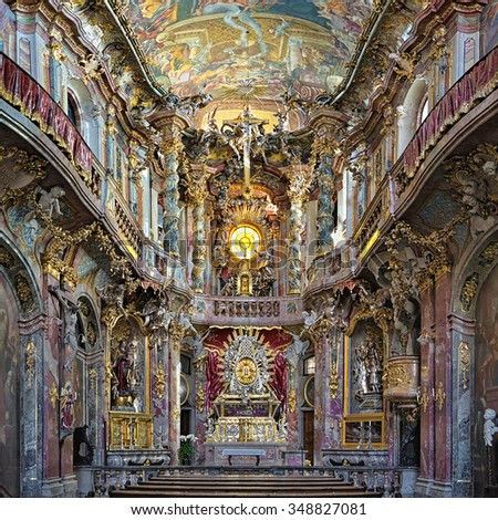 MUNICH, GERMANY - AUGUST 26, 2010: Interior of Asamkirche. The church was built in 1733-1746 and is considered to be one of the main representatives of the southern German Late Baroque. - stock photo
