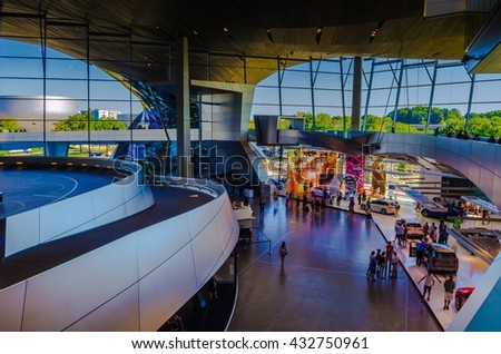 MUNICH, GERMANY, AUGUST 20, 2015: interior of the futuristic looking headquarters of BMW car manufacturer in munich, germany - stock photo