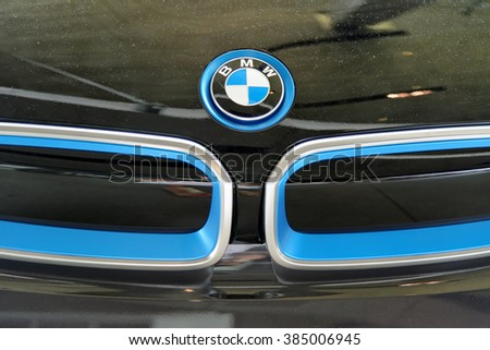 MUNICH, GERMANY - 4 AUGUST 2015: Logo of BMW, photo made at BMW World showroom in Munich, Germany. - stock photo