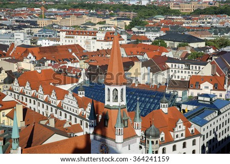 Munich, Germany August 28, 2015: Munich Aerial View - stock photo
