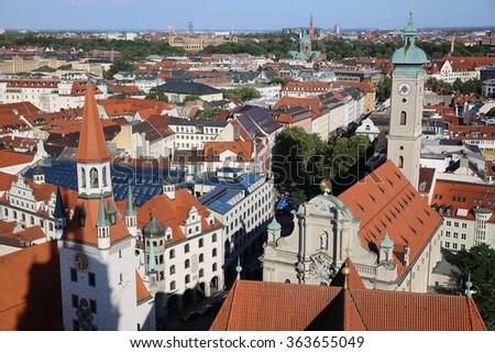 Munich, Germany â?? August 28, 2015: Munich Aerial View. Germany - stock photo