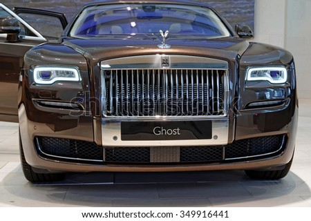 MUNICH, GERMANY - 4 AUGUST 2015: Rolls Royce Ghost on display at BMW World in Munich, Germany - stock photo