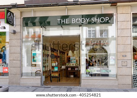 MUNICH, GERMANY - AUGUST 3, 2015: The Body shop store. Body Shop is part of famous L'Oreal group and has 2800 stores worldwide (2014). - stock photo