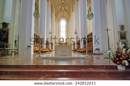 MUNICH, GERMANY - AUGUST 07: The Frauenkirche cathedral interior view on August 07, 2008 in Munich, Germany.