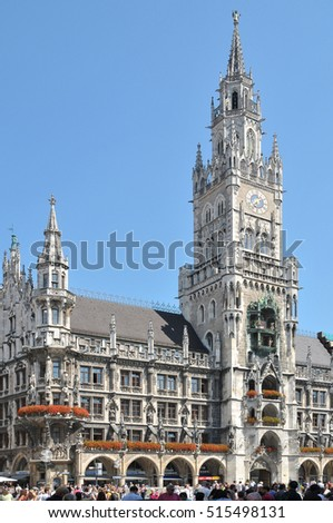 MUNICH, GERMANY - AUGUST 18, 2011: View of the building and the tower of the town hall, in the center of the city