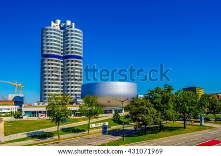 MUNICH, GERMANY, AUGUST 20, 2015: view of the futuristic looking headquarters of BMW car manufacturer in munich, germany