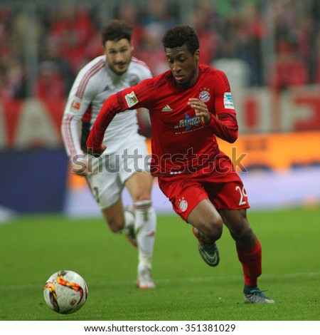 MUNICH, GERMANY - DECEMBER 12 2015: Kingsley Coman of Bayern Munich  during the Bundesliga match between Bayern Muenchen and FC Ingolstadt, on December 12, 2015 in Munich, Germany.  - stock photo
