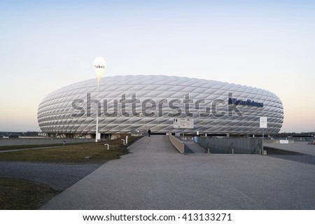 MUNICH, GERMANY - DECEMBER 03, 2015: The Allianz Arena is a football stadium with a 75,024 seating capacity in Munich, Germany  - stock photo