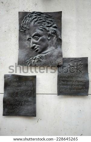 MUNICH, GERMANY/EUROPE - SEPTEMBER 25 : Mozart Relief in Munich Germany on September 25, 2014 - stock photo