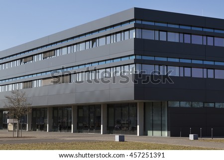 Munich, Germany, 26 February 2015: Modern building exterior