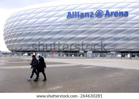 MUNICH, GERMANY - FEBRUARY 20: Unidentified tourists visit the Allianz Arena on February 20 ,2012 in Munich, Germany. The Allianz Arena is home to Bayern Munich football club. - stock photo