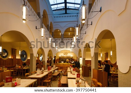 Munich, Germany - January 05 2016: Interior of Donisl, the oldest famous large beer restaurant