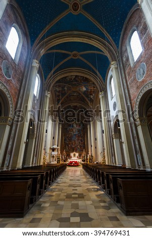 Munich, Germany - January 04 2016: Interior of the Catholic Parish and University Church St. Louis, the church in neo-romanesque style in center of Munich
