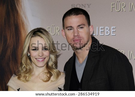 "MUNICH, GERMANY - JANUARY 20, 2012: Rachel McAdams and Channing Tatum at the SONY photo call for their new movie ""The Vow"" at Hotel Bayerischer Hof on January 20, 2012 in Munich, Germany"