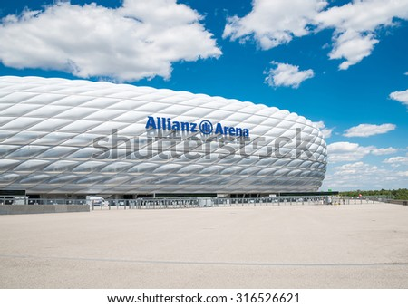 MUNICH, GERMANY - 31 JULY 2015: Allianz Arena stadium in sunny day in Munich, Germany. The Allianz Arena is home football stadium for FC Bayern Munich with a 69,901 seating capacity. - stock photo