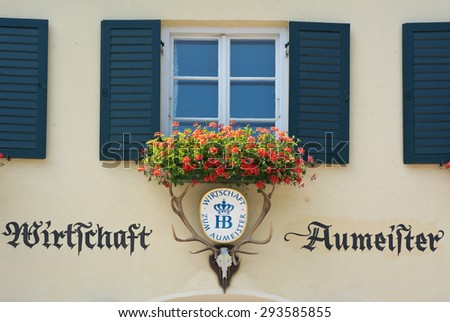 MUNICH, GERMANY - JULY 2, 2015:  Because of Extreme Summer Heat Germans and Tourists Flock to the Beer Gardens like the Aumeister Beer Garden for Relaxation in Munich, Germany. - stock photo