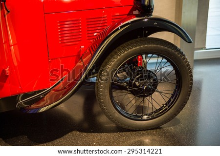 MUNICH, GERMANY - JULY 1, 2015: Old BMW car at the BMW Museum, an automobile museum in Munich, Germany. It was established in 1972 - stock photo