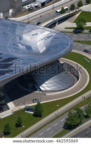 MUNICH, GERMANY - JUNE 06: BMW museum building on June 06, 2016, Munich, Germany.