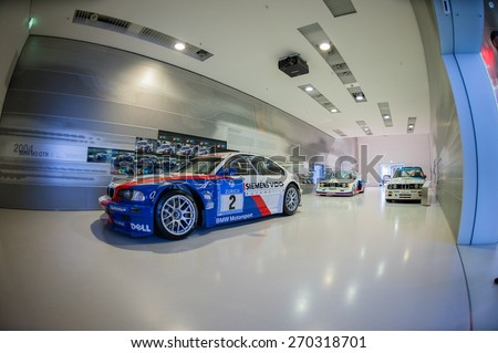 MUNICH / GERMANY - JUNE 4, 2011; The BMW M3 GTR racing car in BMW Museum. - stock photo