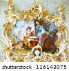 MUNICH, GERMANY - JUNE 07:  The fresco in Rococo style decorating interior of the Nymphenburg Palace. This palace was the main summer residence of the rulers of Bavaria.  June 07, 2012 Munich, - stock photo