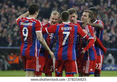 MUNICH, GERMANY - MARCH 11 2015: Bayern Munich's forward Thomas Muller celebrates scoring a goal during the UEFA Champions League match between Bayern Munich and FC Shakhtar Donetsk.