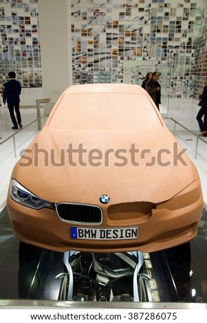 MUNICH, GERMANY - 5 MARCH 2016: The BMW  presented preparation of model 3 at BMW Museum in Munich, Germany. - stock photo