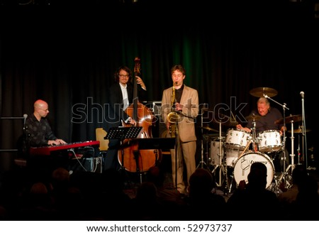 """MUNICH, GERMANY - MAY 7: Charly Antolini, Swiss jazz drummer, and his Swingin`Band """"Special Delivery"""" at Theater Interim on May 7, 2010 in Munich, Germany - stock photo"""