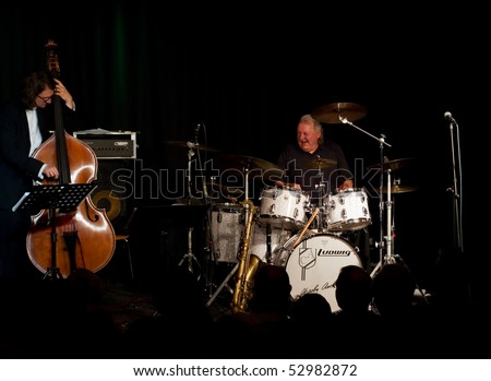 "MUNICH, GERMANY - MAY 7: Charly Antolini, Swiss jazz drummer, and his Swingin`Band ""Special Delivery"" at Theater Interim on May 7, 2010 in Munich, Germany"