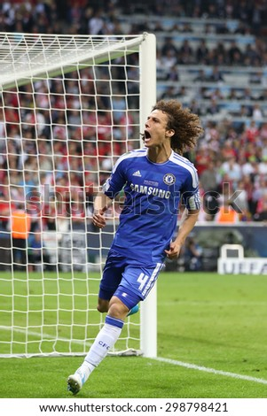 MUNICH, GERMANY May 19 2012. Chelsea's Brazilian defender David Luiz celebrates scoring a penalty during the 2012 UEFA Champions League Final at the Allianz Arena Munich - stock photo